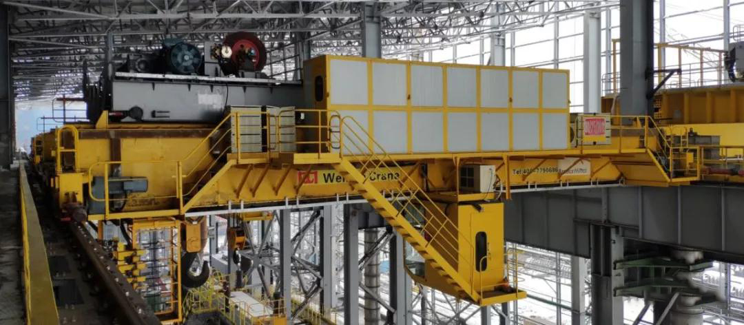 80 ton double girder overhead crane used in transfer workshop